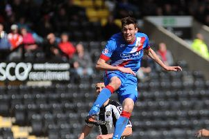 NSST 25-4-15 Notts County v Doncaster Rovers Skybet League One''Rovers debut striker Jack McKay gets airborne