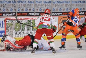 Jono Phillips attacks Cardiff's net. Pic by Dean Woolley
