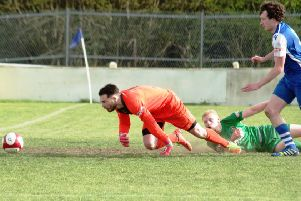 Pontefract Collieries v Brighouse Town'Gabriel Johnson (in green) scores'Picture: Steven Ambler