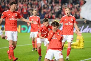 Joao Felix of Benfica celebrates with teammates (Photo by Octavio Passos/Getty Images)