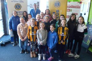 Event organiser Les Brindley with Morpeth Town FC girls.