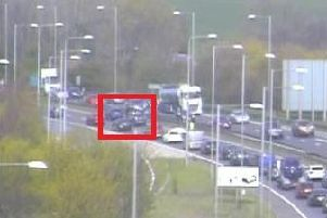 The scene of the earlier crash on the A1(M). Picture: Highways England