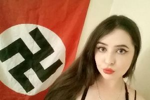 Alice Cutter with Nazi flag. New images released by police - Credit: SWNS