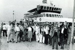 A party of more than 50 readers of The Star and Morning Telegraph are enjoying a holiday of a lifetime in Japan.  Pictured are members of the party after disembarkation from a cruise on Lake Hakone in 1982