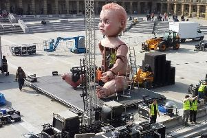 Baby arrives at The Piece Hall, Halifax Credit Mind the Gap Theatre Company