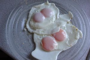 Double yolk sent in by Michael Parker