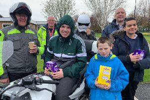 Members of the Northumberland Chapter of the Widows Son's Masonic Bikers Association with youngsters at Southlands School.