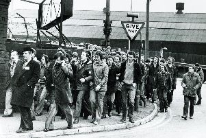 Pickets from Hadfields Limited on the march during the steel strike in 1980
