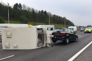 The overturned caravan on the M62 (picture by WYP_TrafficDave)