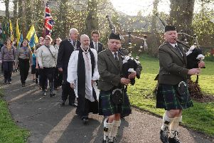 Castle Morpeth District Scouts parade to their church service.'Picture by Jane Coltman