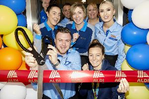 Manager Arron Barley and Team GB cyclist Katy Marchant help with the grand opening of ALDI Armthorpe ''Pictured official opening.