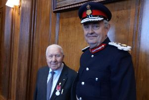 Recognition: John Wade BEM with Lord Lieutenant Andrew Coombe