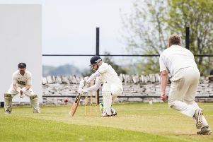 Dean Crossley on his way to 67 for Northowram Fields against Hopton Mills