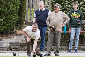 Wiinners:. Dale Holdsworth bowls and Daniel Barker is on the right in Sunday's George Parkin Pairs