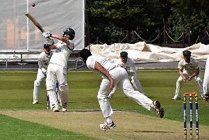 Opener Ben Slater on his way to a magnificent century for Chesterfield against Denby.