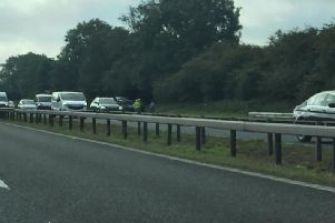 A lane has been closed on the M6 northbound, between junctions J32 and J33,'after a car caught fire