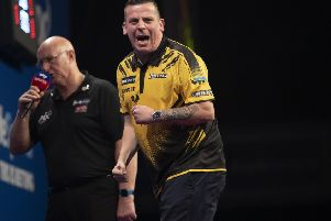 Dave Chisnall is victorious against Gerwyn Price at the Boyle Sports World Grand Prix in Dublin. Picture: Lawrence Lustig/PDC.