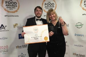 Pizza chef Mathew Doorly and assistant manager Joanne Woodhouse collecting the award at the ceremony in Manchester last week.