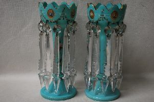 A pair of Victorian turquoise table lustres