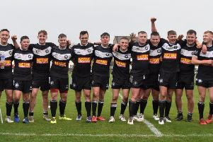 Yorkshire ARL under 19s celebrate their 22-20 victory over Cumbria. Picture: Ben Challis