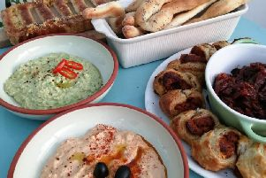 Karen's homemade party nibbles including her hummus recipe