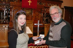 Chorley United Reformed Church now accepts credit and debit cards for its service offerings. Pictured is Rev Martin Whiffen and Jenny Deering (Image: submit)