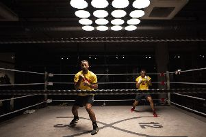 READY FOR ACTION: Kell Brook works out with fellow Sheffield boxer Kid Galahad ahead of his fight with Mark DeLuca on February 8. Picture: Justin Setterfield/Getty Images)