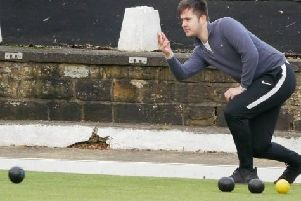 Joe Cranston in action during his win in the latest Spen Winter Sweep bowls competition.