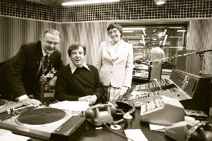 Russell Harty and the Mayor and Mayoress of Preston Joe and Vera Pownall pictured on the day the station was launched on October 5, 1982