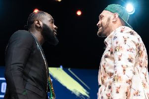 Deontay Wilder and Tyson Fury. Picture: Ryan Hafey/Premier Boxing Champions