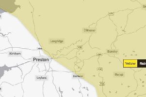The rain and snow warning area from the Met Office