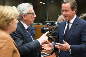 David Cameron (right) with  Angela Merkel and Jean-Claude Juncker