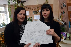 MP Bridget Phillipson visits Hetton Nursery to collect funding petition from head of nursery Ruth Williamson.