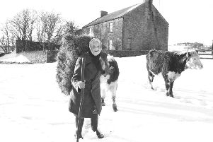 Hannah Hauxwell at Low Birk Hatt farm, where she lived before moving to a cottage.