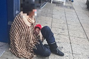 A rough sleeper in Doncaster