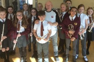 Jeff Rich with the pupils