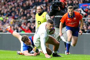 England's Jonny May scores his side's second try of the game against France last month. Picture: Gareth Fuller/PA