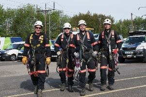 The Electricity North West overhead lines team are ready for action. Photo by Sarah Porter.