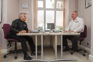 Val and Steve in their office in Leeds, close to the prison.