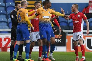 Picture Andrew Roe/AHPIX LTD, Football, EFL Sky Bet League Two, Mansfield Town v Crewe Alexandra, One Call Stadium, 23/03/2019, K.O 3pm''Mansfield's Neal Bishop and Crewe's Paul Green are separated''Andrew Roe>>>>>>>07826527594