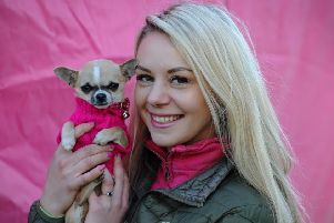 Cancer Care's Bark in the Park event took place for the first time in Happy Mount Park in Morecambe. The event featured dog shows, agility course plus fancy dress, stalls and treasure hunt and attracted a bumper crowd of dog lovers. Helen Barski with her Tea Cup Chihuahua, Peaches. Picture by Paul Heyes, Sunday March 24, 2019.