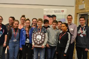 Lancaster University schools STEM Challenge: winning team from Ripley St Thomas with Professor Jim Wild, Associate Dean for Undergraduate Teaching in the Faculty of Science and Technology at Lancaster University.