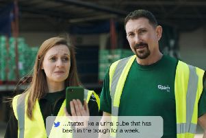Staff from the Carlsberg brewery reading out disparaging comments about the old beer for a new advertising campaign