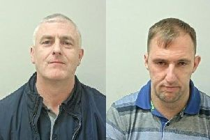 Brian Thexton, 43 (left) and Ronald Thexton, 35 (right), from County Durham, are wanted in connection with theft and burglary offences in the Morecambe area.