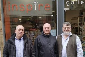 Wayne Pillsworth and Daniel Wolstencroft both from Shatterboys pictured with Graham Armstrong of Inspire Gifts and Gallery on the right.