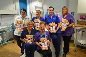 Staff at the Royal Lancaster Infirmary with some of the bears donated to hospitals across the country.