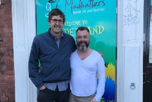 Louis Theroux pictured outside Madhatters in Kimberley. Picture: Madhatters (Twitter).