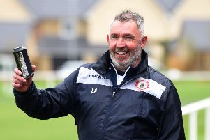 Longridge Town manager Lee Ashcroft pictured after guiding his side to the North West Counties League First Division North title