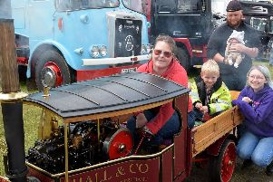 Louise Hall with Daniel Hall, Chloe Hall and Josh and Ava Hawthorne at Scorton Steam Fair.