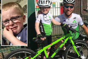 Evan, 5, and Mark Cavendish. Inset: Evan was gutted Mr Cavendish was left out of this year's Tour de France.